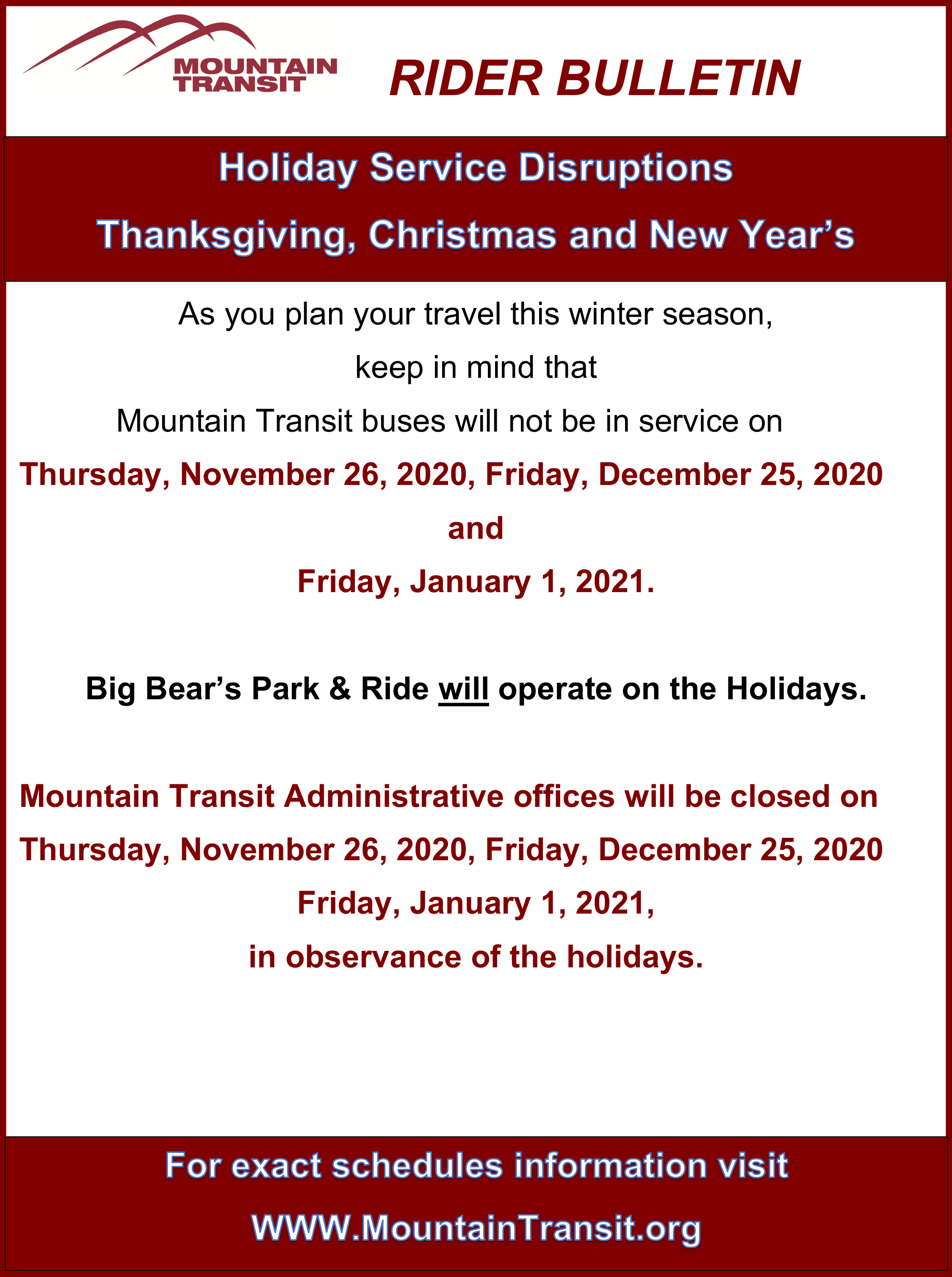Holiday Rider Bulletin