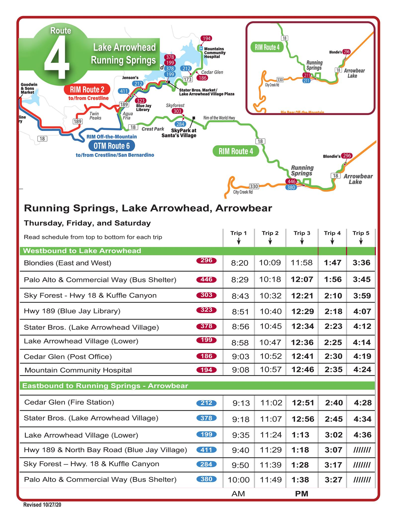Route 4 and 5: Service Update